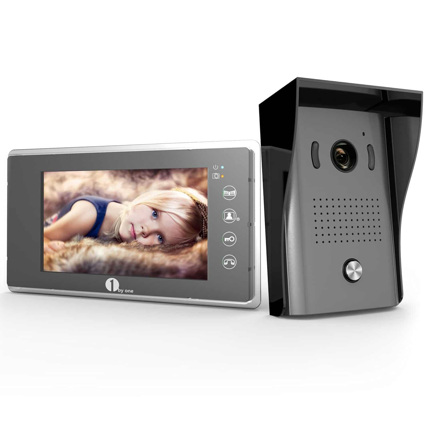 "1by one 7"" Color LCD Touch Screen Wired Video Doorbell"